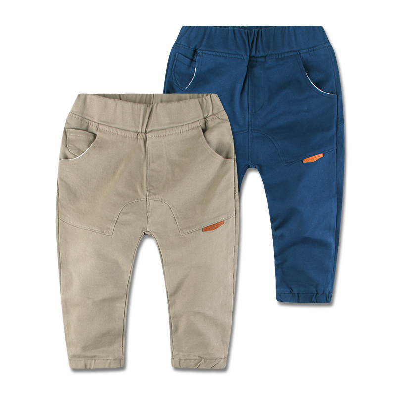 2015 New Arrival Toddler Clothing Solid Cotton Kids Boys Pants Trousers High Quality Elastic Waist 2-7 Y Baby Boys Casual Pants