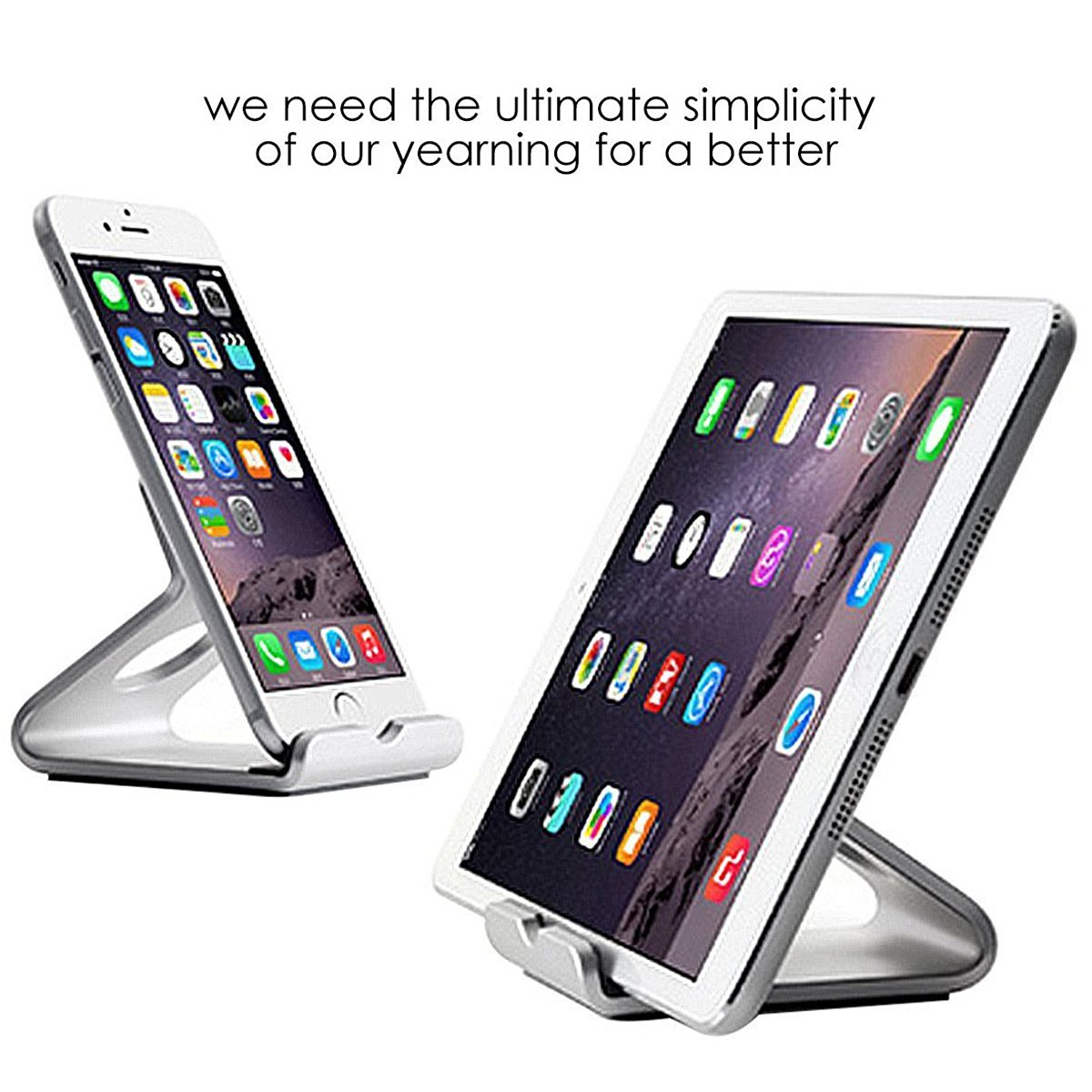 iPhone Stand, iPhone SE Holder ,Aluminum Desktop Phone Tablet Stand Holder For iPhone SE 6S 6Plus 5s Samsung Galaxy S7 /S7 Edge S6 S5 Note5 4 3 Kindle Fire 7 Tablet(3.5~6inch Mobile & 7 inch Tablet)