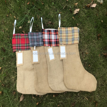 wholesale burlap christmas decorations present stockings socks - Burlap Christmas Decorations