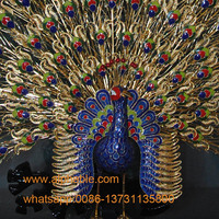 Chinese Traditional skills made brass peacock statue