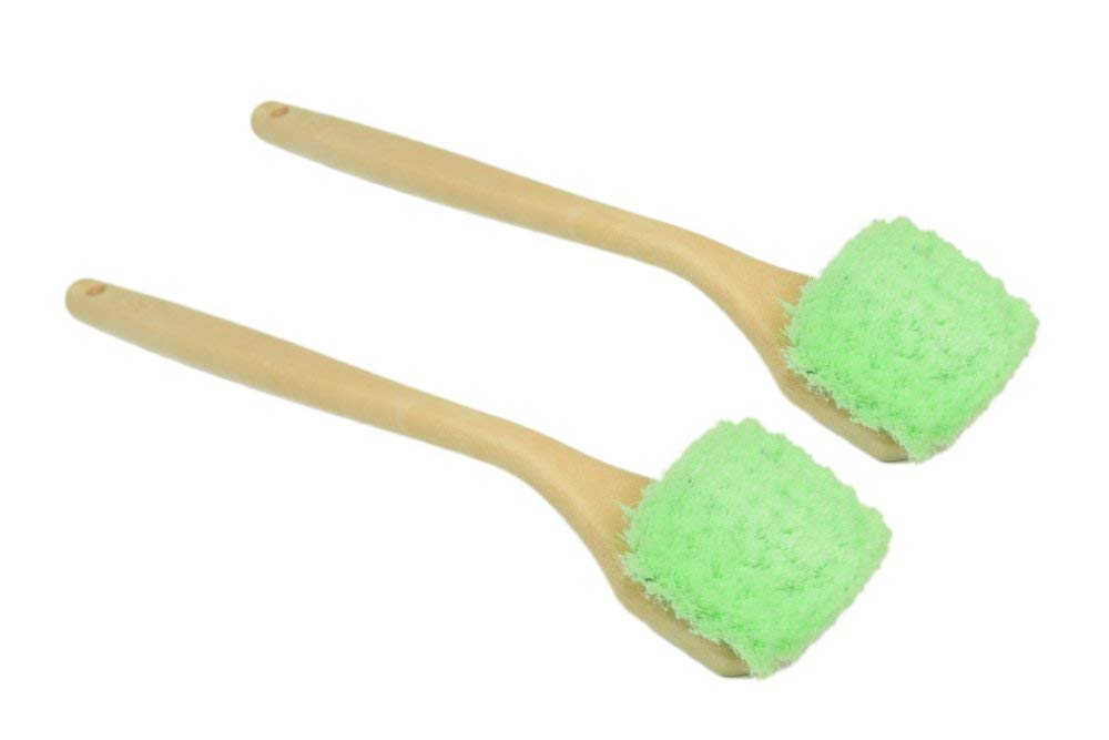 Carcarez Car Wash Brush Detailing Cleaning Brush for Wheel Rim Tire with Long Handle, Green, 2 Pack
