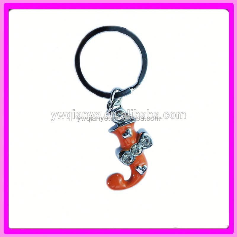 2015 fashion high quality metal letters J keychain