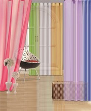 1pc solid Voile Window Curtain With 6 Metal Grommets