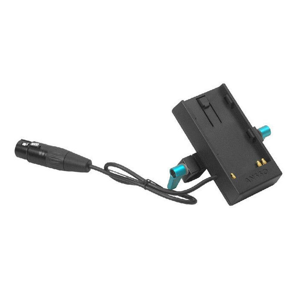 Ansso DC 4 Pin XLR Battery Mount Plate Power Supply w 15mm Rod Clamp for Sony BP-U60 U30