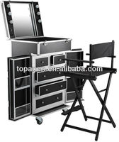 top quality saloon aluminium stainless makeup stand chair set