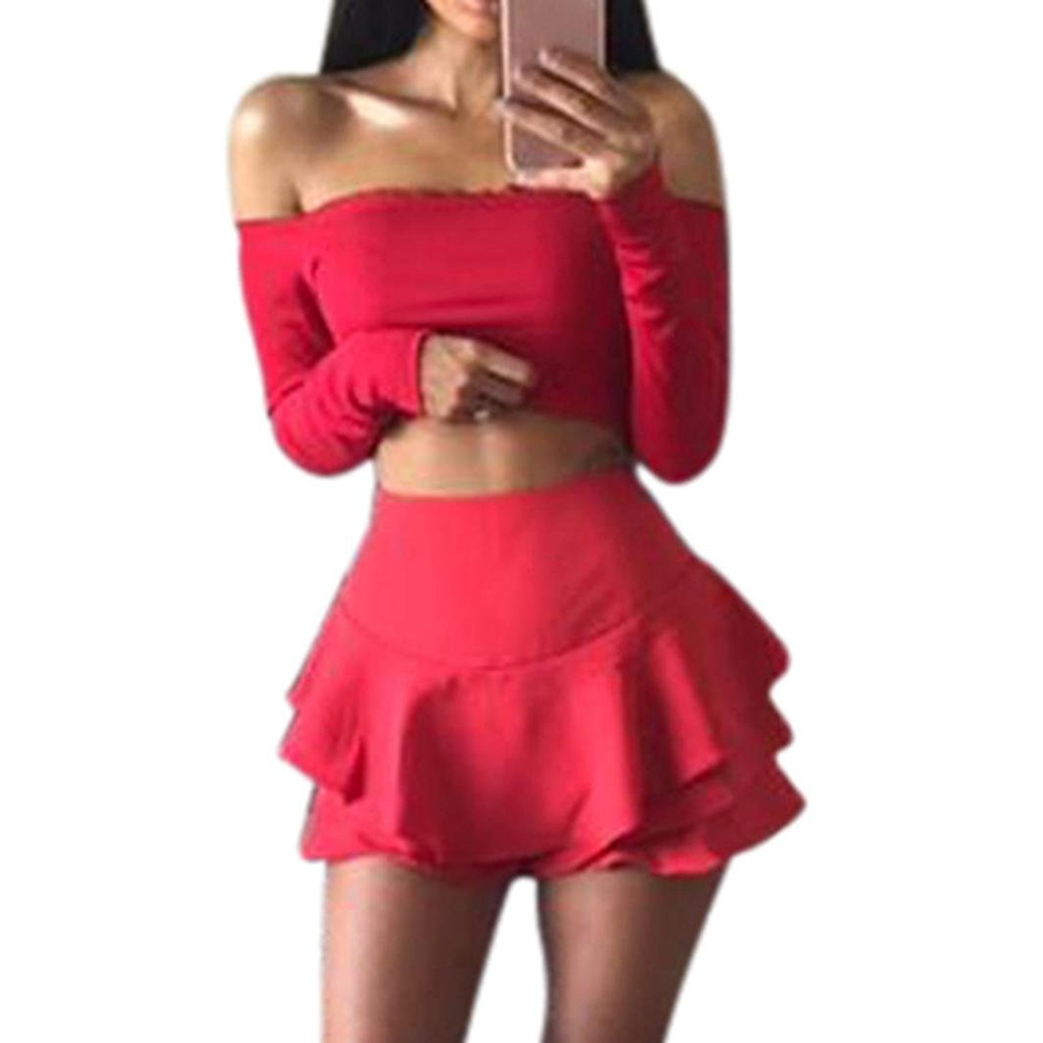 Get Quotations · Usstore Women s Top Frill Bralet Boobtube Jumper Off  Shoulder Tops Blouses d02ac9e61
