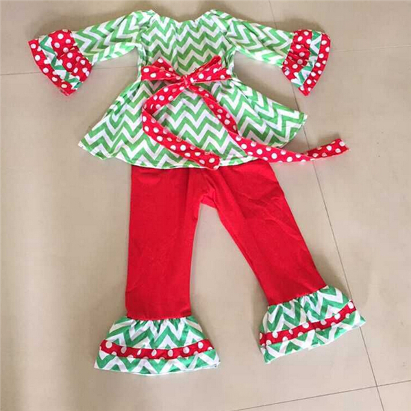 2015 New Arrival Winter Kids Girls Xmas Halloween Set Ruffle Sets 2pcs set Party Dress Baby Clothing Children Boutique Outfit