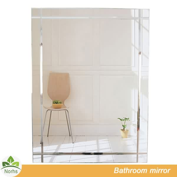 Norhs rectangle contemporary design decorative compact makeup frameless glass beveled wall mirror for bathroom vanity
