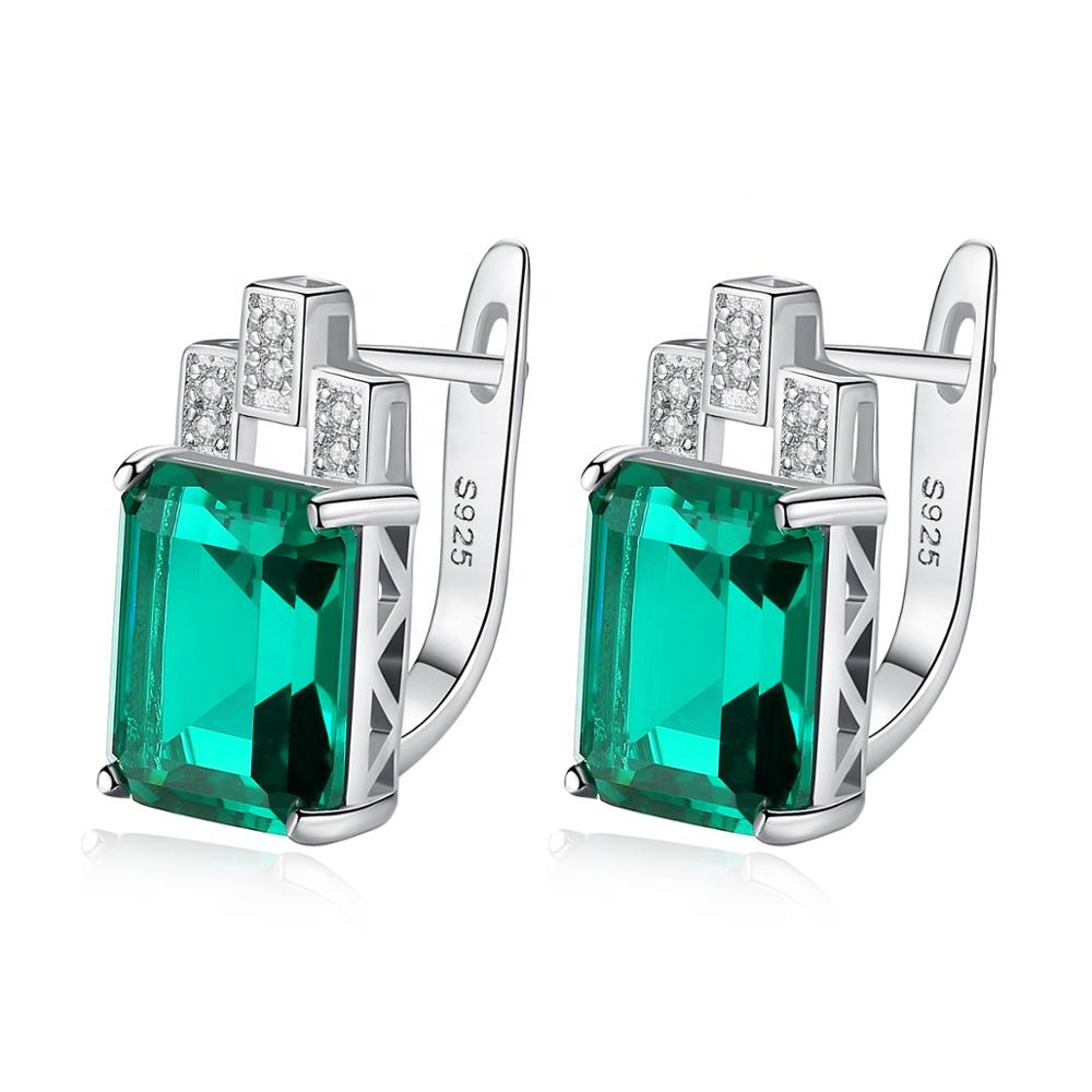 CZCITY Elegant Square Shape Natural Emerald Stone Cuff Earrings 925 Sterling Silver Anniversary Jewelry