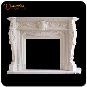 Chinese Supplier Handcarved White Marble Stone Fireplace