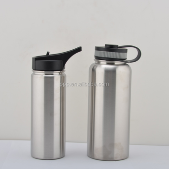 Wholesale 18/32/40/64oz double wall stainless steel powder coated wide mouth sports water bottle