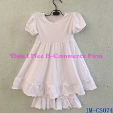 Wholesale Baby Clothing Sets with Ruffles Persnickety Baby Girls White Cotton Lap Ruffled Shorts Outfit IM-CS074