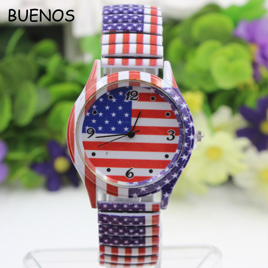 Fashion USA Flag Stainless Steel Stretch Watch for Couple