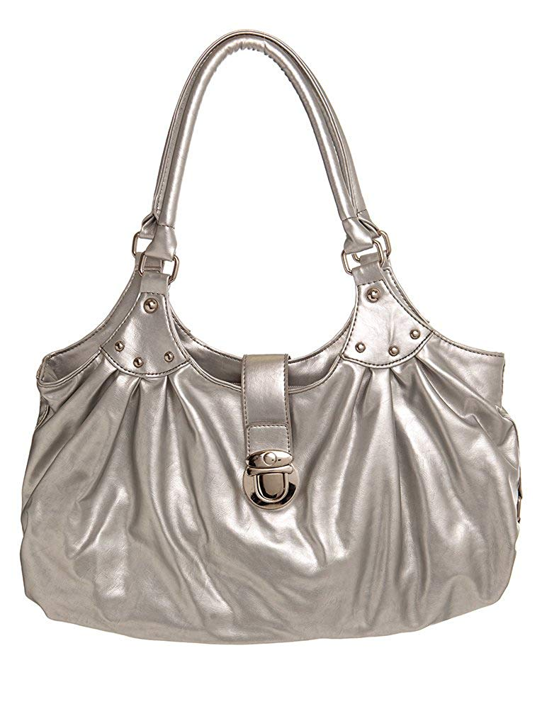 Get Quotations Large Silver Toned Flap Hobo Women Handbag Shoulder By Handbags For All