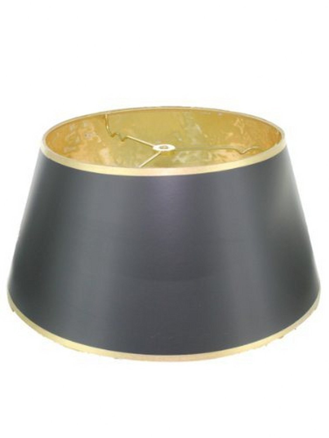 Upgradelights Black with Gold 10 Inch Bouillotte Lampshade in a Glossy Black Parchment (8x10x5.5)
