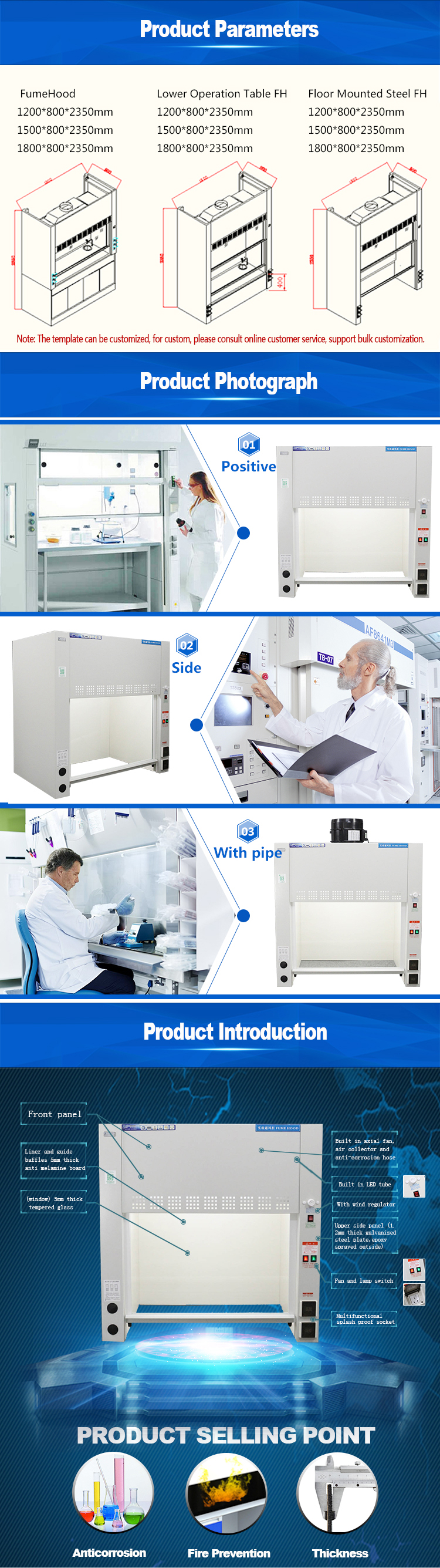 All steel structure desktop fume extractor Lab chemistry biotechnology laboratory equipment