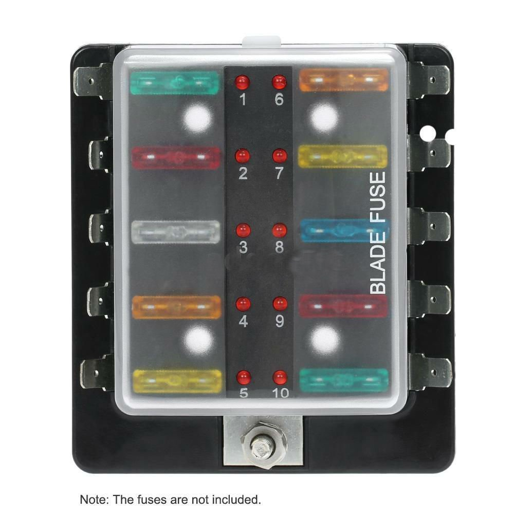 Get Quotations · 10 Way Blade Fuse Box Holder w/LED Warning Light Kit for  Car Marine 12V