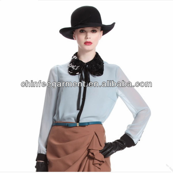 Sexy Elegante Chiffon Blouses Shirts Voor Meisjes