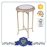 Top Class With Custom Sizes Foldable Wrought Iron Marble Table