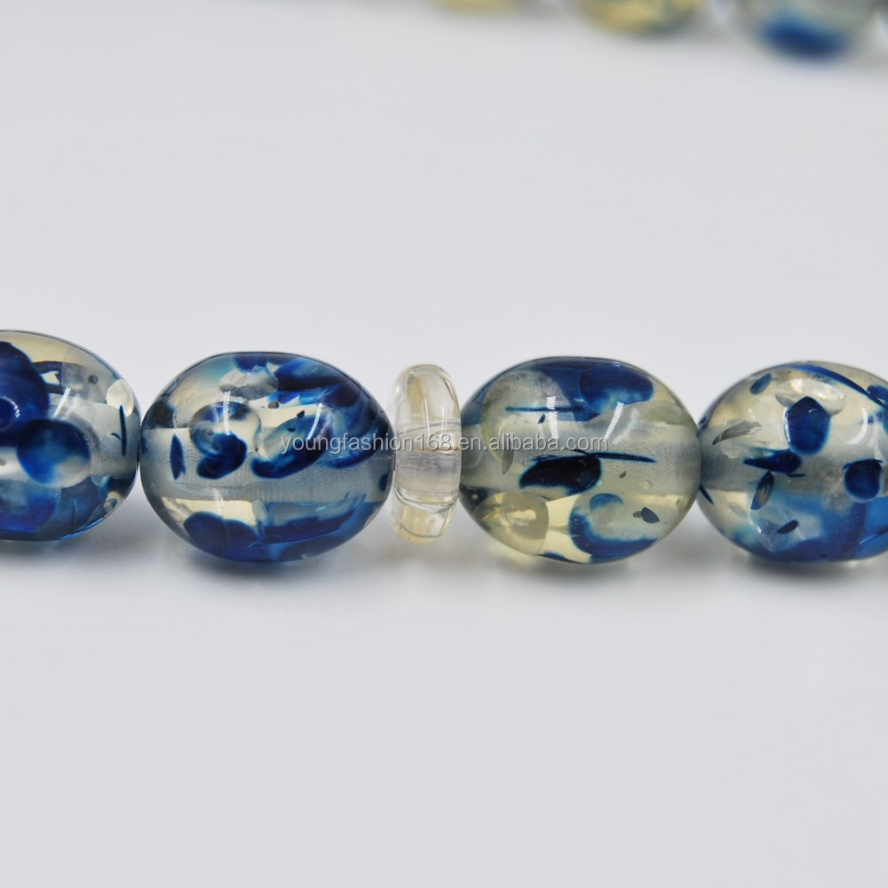 Cheap Plastic Rosary For Promotion Resin mishbah Beads With Blue Flower Inside Beads For Muslim Pray