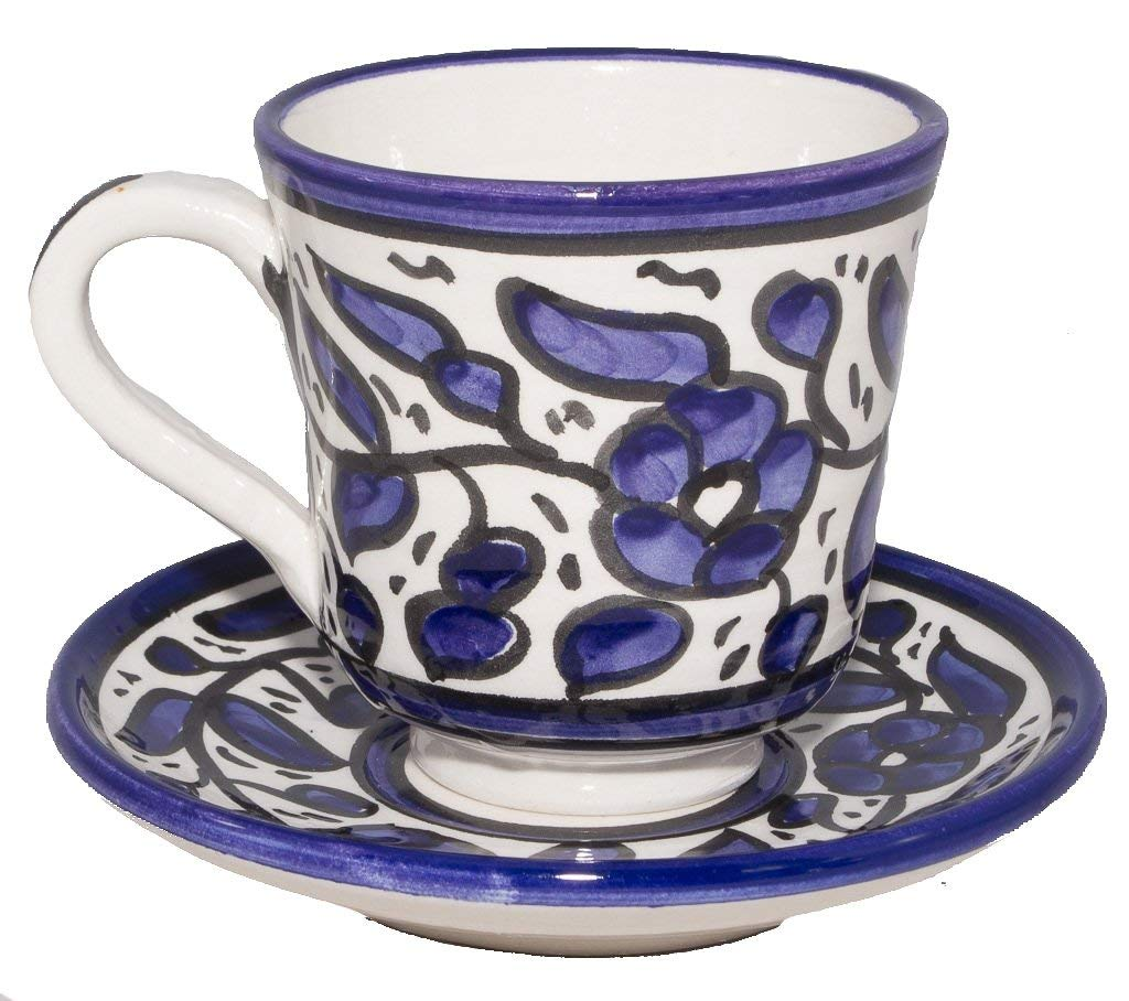 "Coffee Cup With Plate and Handle - Handmade and Hand Painted Ceramic Crafted by Hebron Artisans (4.5"" x 3.2"" x 3.3"") For Cup (4.9"" x 0.7"" x 4.9"") For Plate"