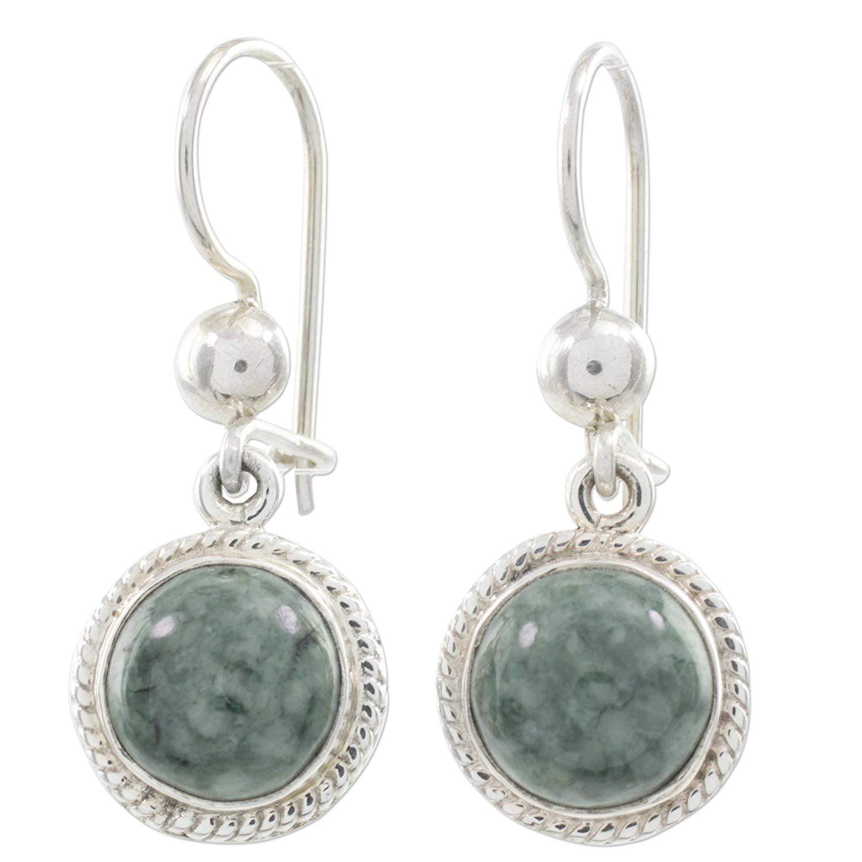 NOVICA Light Green Jade and .925 Sterling Silver Dangle Earrings, Green Apple'