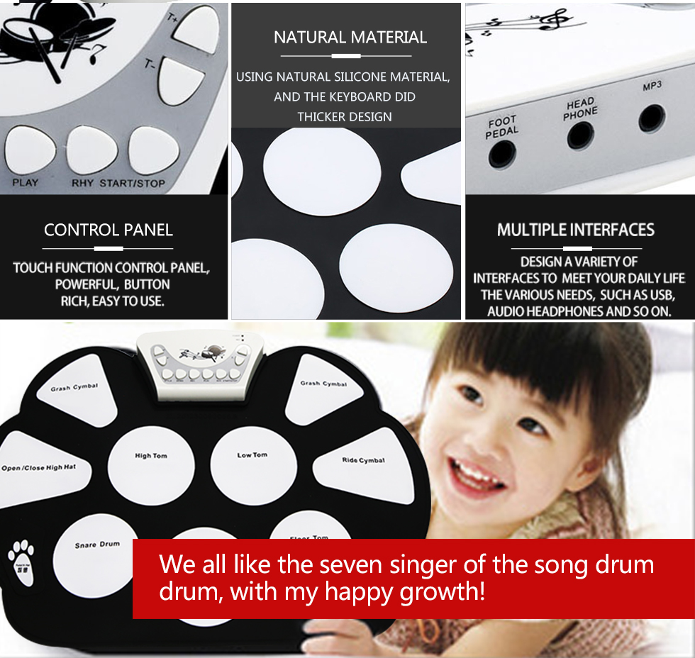 Trung quốc Silicone Electronic Drum Up Kit Cuốn Drum Kit cho Trẻ Em