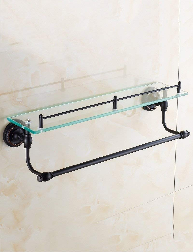 L.I. of Shower Extremely Powerful Black Bronze Antique Copper Simple Bathroom Rack Layer Glass Shelf Mirror European-Style Bathroom guaranteeing The Quality of The Plateau