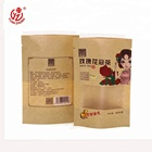food grade kraft paper tea pouch stand up bag with zipper