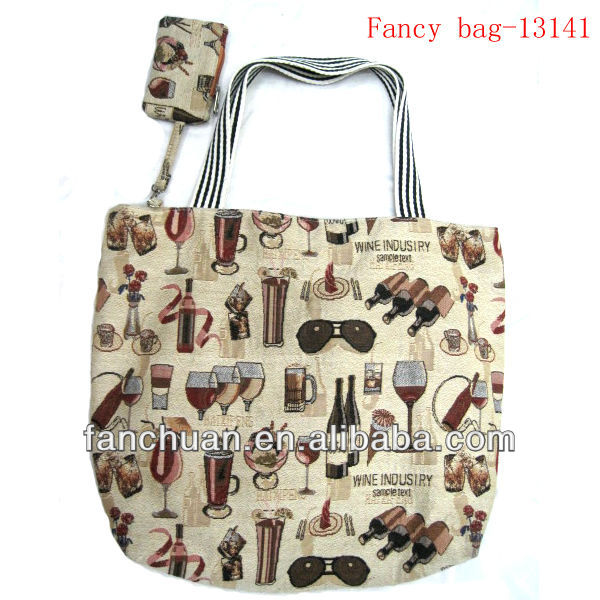With Little Pocket Jacquard Weave Canvas Lady Bag