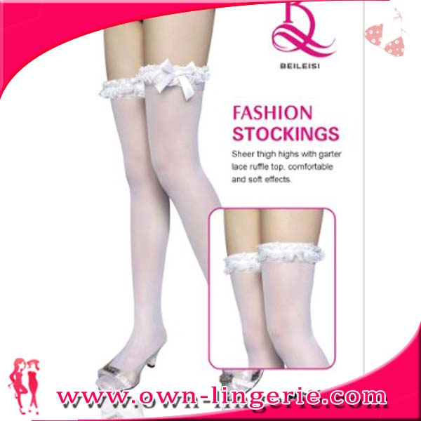 Young Girls White Lace Nylon Stocking