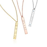 Inspire jewelry wholesale cheap price Hollow Carved Vertical Bar Necklace popular birthday gift jewelry fashionable