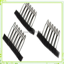 Free shipping 10pieces/lot wig accessories Lace caps Clips wholesale black Hair Combs attach to wig caps