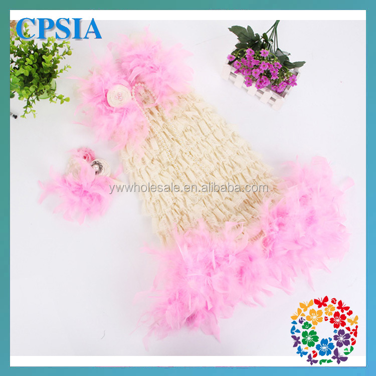 New fashion baby girl lace princess dresses ivory pink feather kids party dress