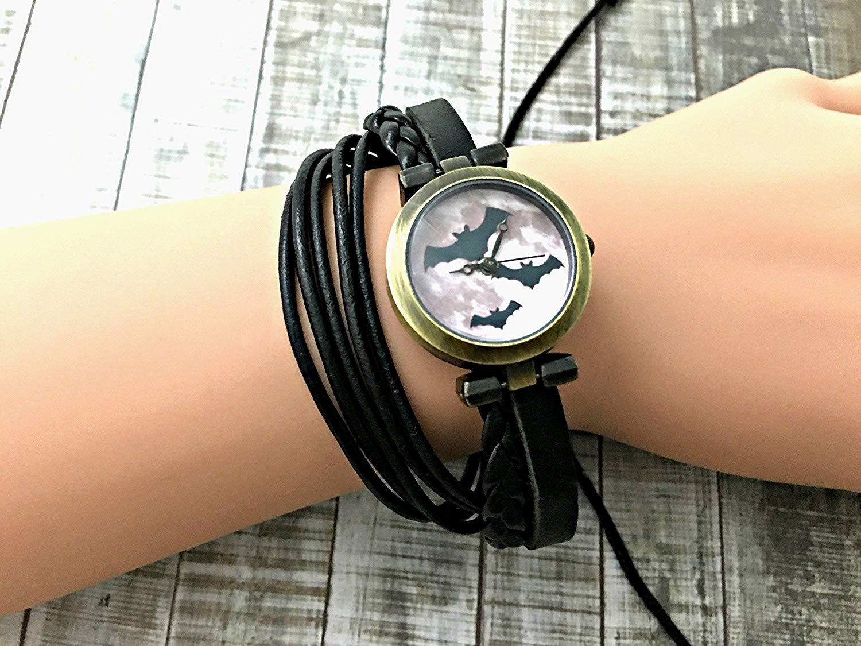 Bat Wrap Bracelet Leather Watch, Leather Wrap Bracelet Watch, Leather Wrap Art Watch, Vintage Retro Wrap Bracelet Watch, Wrap Genuine Leather Watch 026