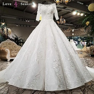 LS0088 new design indian long bridal gowns white high quality lace dress fashion bridal luxury wedding dress