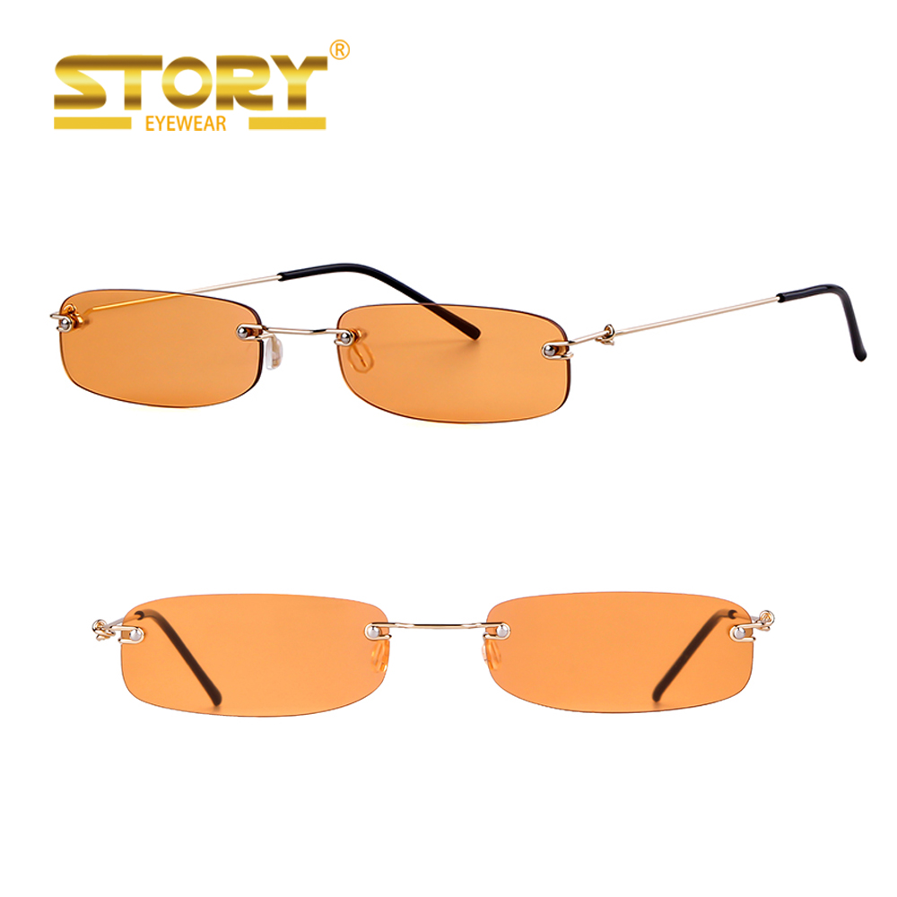 STY93306YD narrow square rimless sunglasses фото