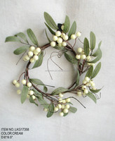 New High Quality Popular Christmas Atificial Candle rings with Berry for Christmas house Decoration