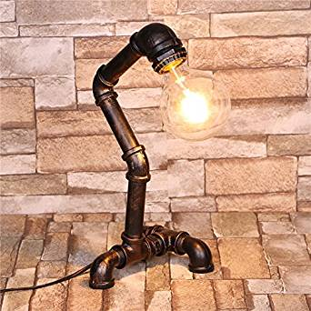 foldable desk lamp&Retro table lamp&Work lamp table lamp&LED desk lamp&Wood table lamps&Lamp shades for table lamps&Tripod table lamp Vintage industrial iron pipes table lamp (170x170x380mm)