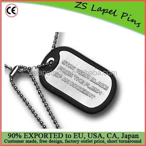 Custom Free Artwork Metal Dog Tags With 60cm Ballchain