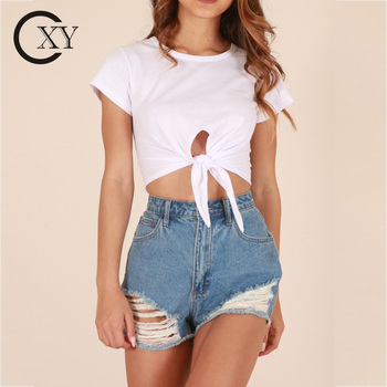 Custom Made Women Elegant Round Neck Summer Casual White Tie Up Crop Tops