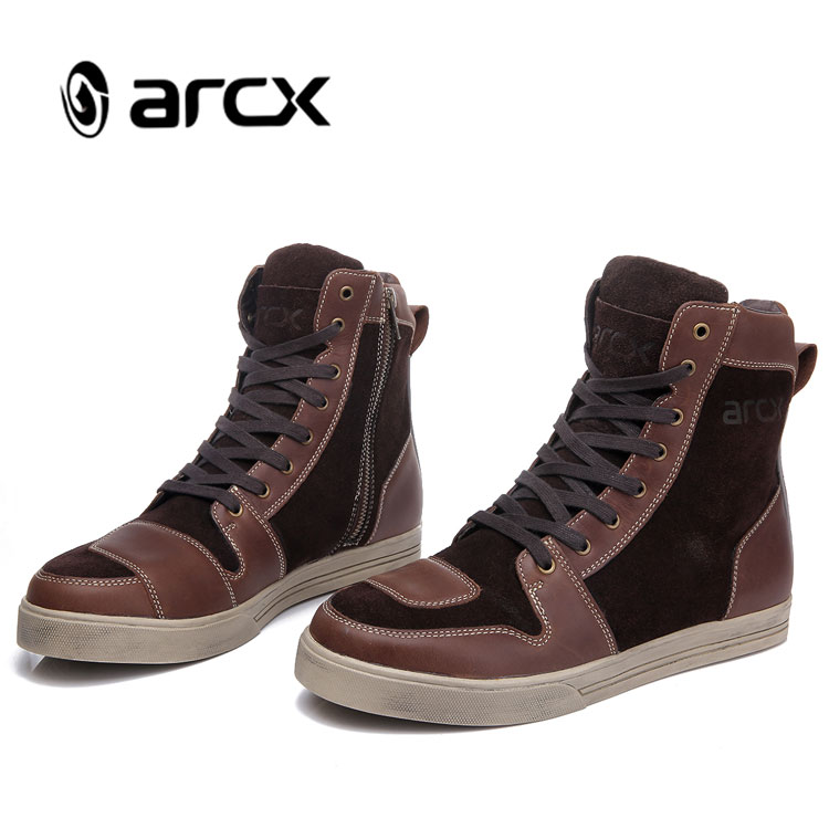 ARCX Classic Urban Leather Casual Boots Motorcycle Shoes for Men Motocross Boots Racing, Black