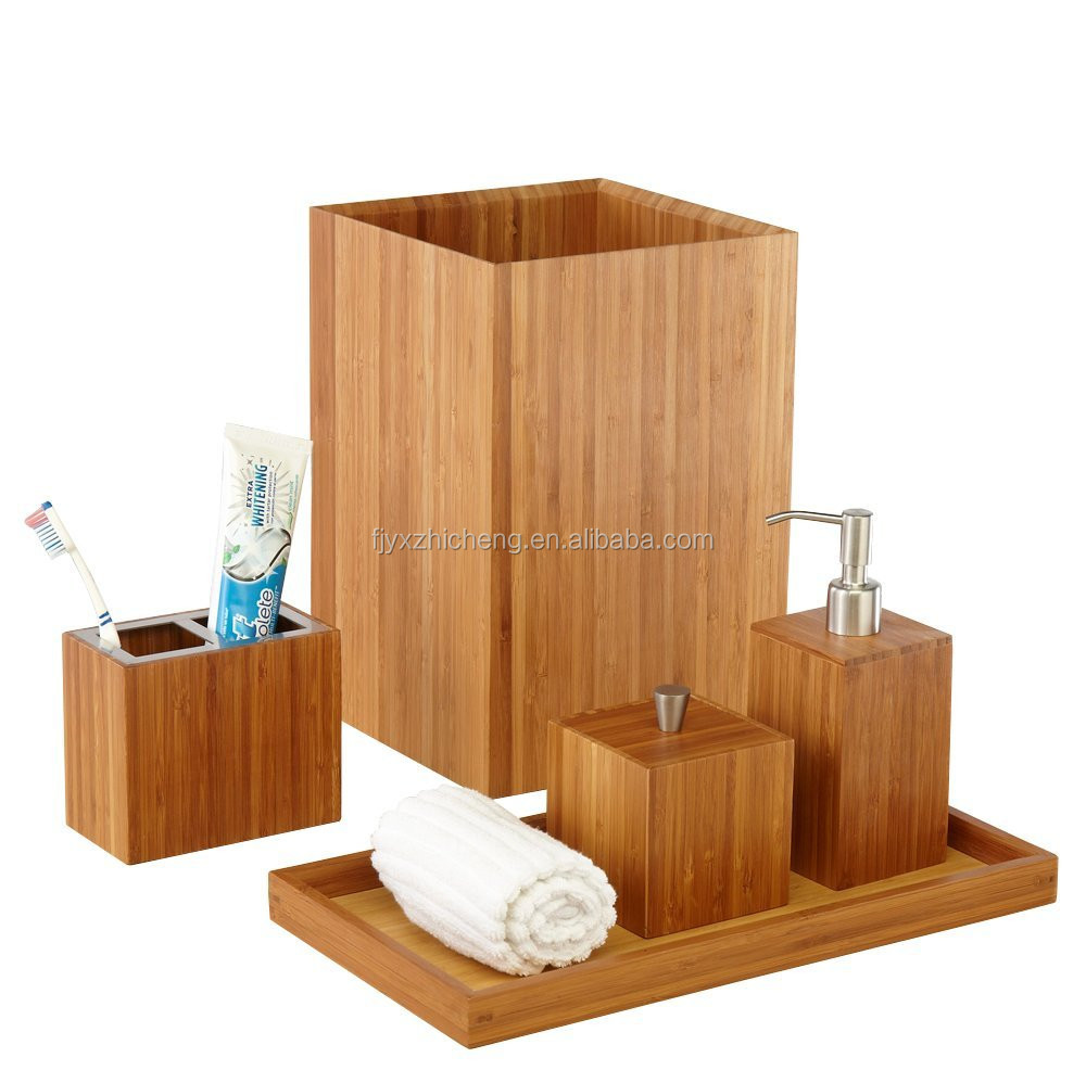 Eco Friendly Bamboo Bathroom Accessories Sets With Toothbrush Holder Lotion Soap Pump Dispenser Cotton Ball Box Waste Basket