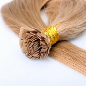 Wholesale Prebonded Flat Iron Hair Extensions 100%Virgin European Keretin Flat Weft Remy Hair Extensions Cheap price