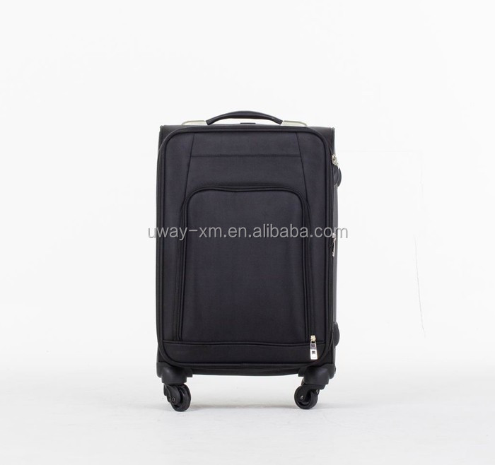 Simple design black nylon trolley luggage,travel luggage