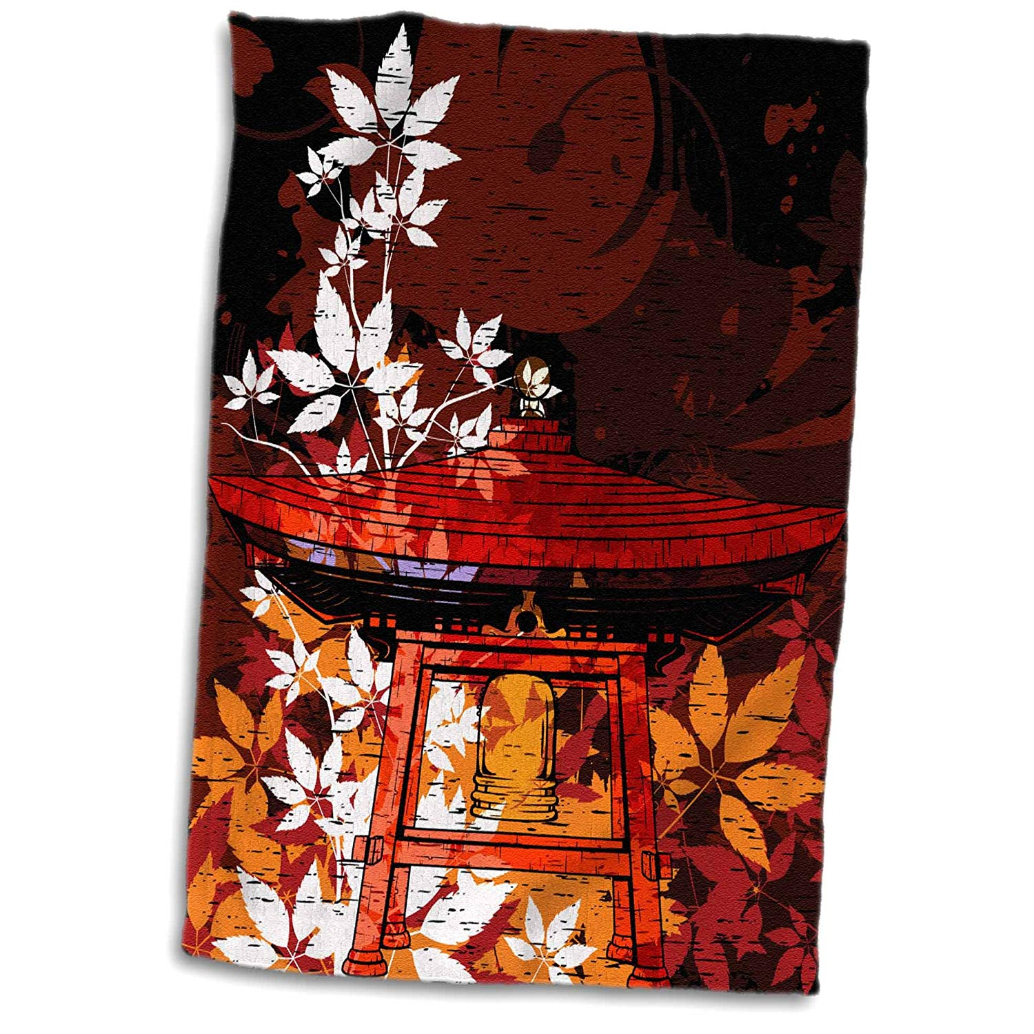 3dRose 3D Rose Pretty Ornate Japanese Bell Gong Decorated with Foliage Asian Oriental Art Hand/Sports Towel, 15 x 22