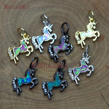 PM9670 Fashion Clear Micro Pave CZ Unicorn Charms With Gold Silver Black Electroplated Assorted Color Opal Unicorn Pendant
