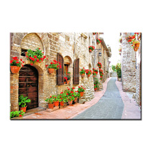 Wall Art Canvas Posters and Prints Quiet European Street Landscape HD Printed Oil Painting Wholesale China