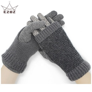 Different Colors Popular Ladies Faux Suede Nap Winter Knitted Gloves