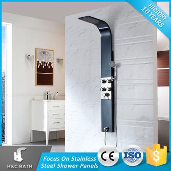 H C Bathroom Ings Black Shower Column Jet Stainless Steel Decorative L Shaped Bath Rainfall Panel